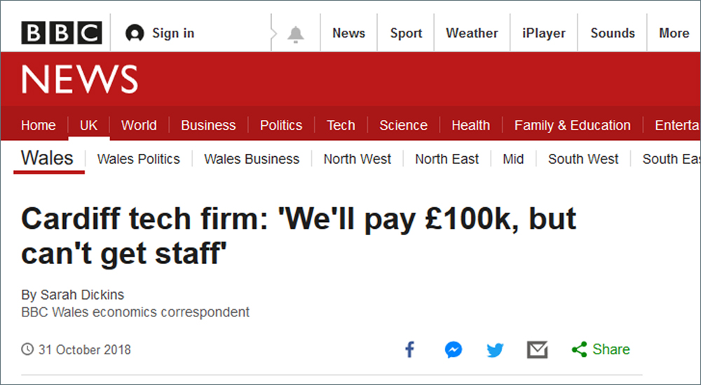 BBC reports Cardiff tech firm 'can't get staff' - What can they do?